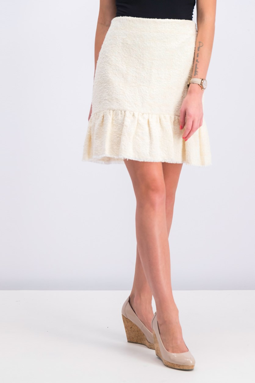 Women's Fluted Hem Skirt, Ivory