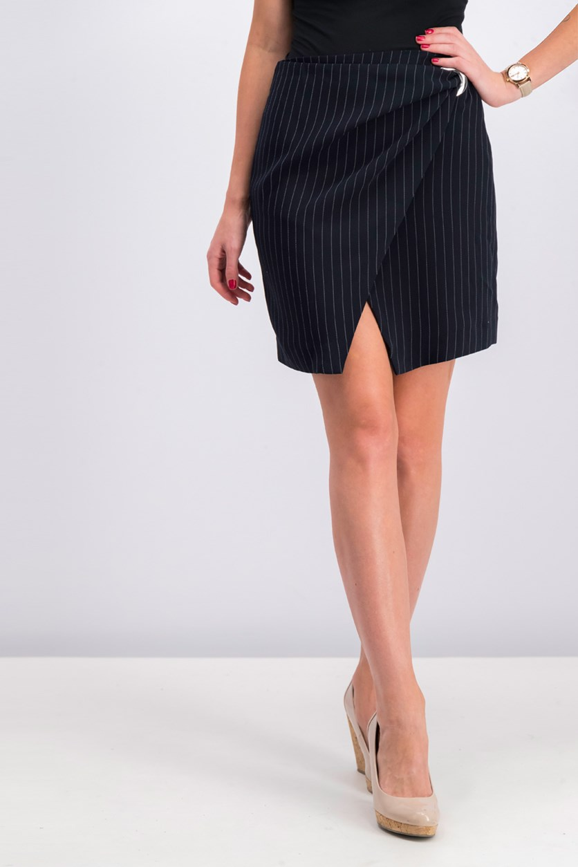 Women Buckle Wrap Skirt, Navy