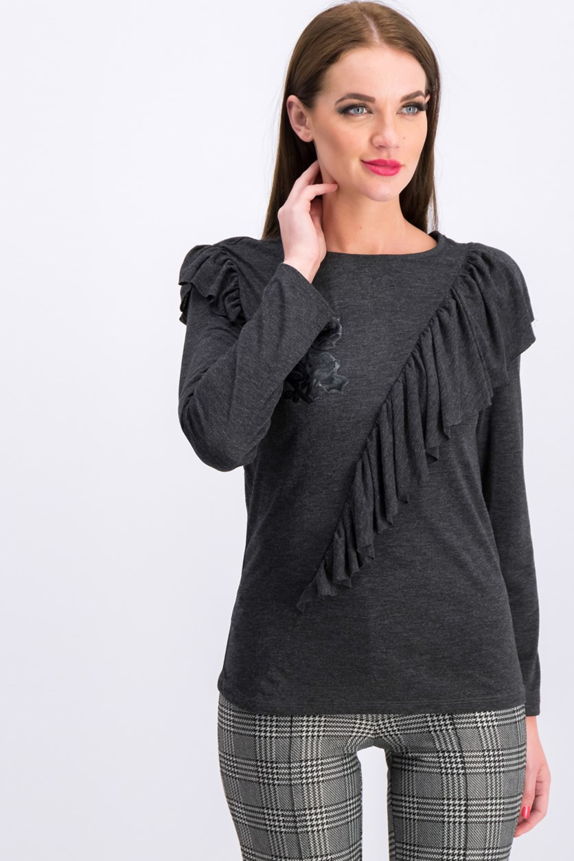 Women's Embroidered Long Sleeve Top, Charcoal