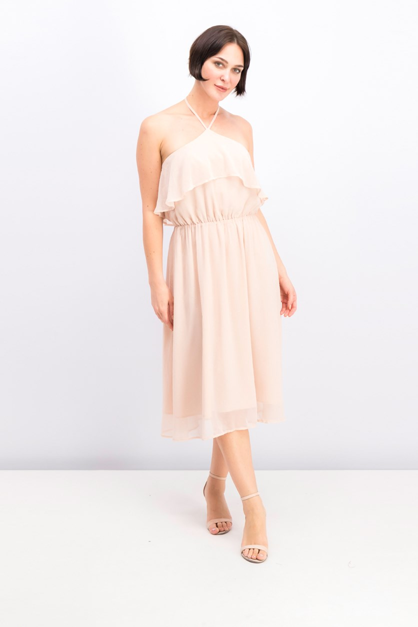 Women Midi Dress, Peach