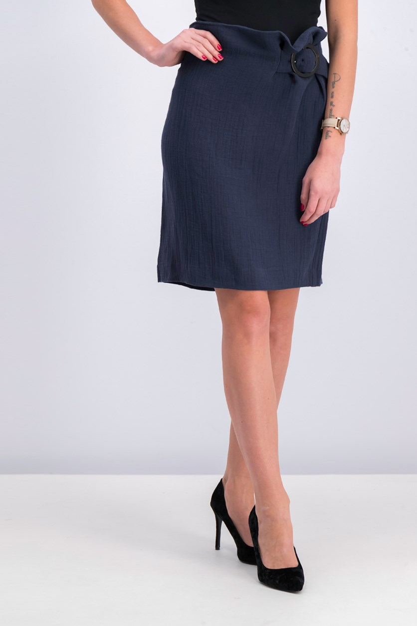 Buckle Ramie-Blend Skirt, Navy