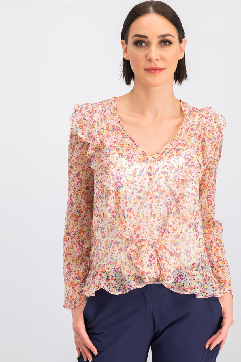 Women's Knit Floral Tops, Pink Combo