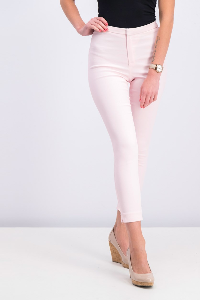 Womens Zip-Hem Slim-Fit Trousers, Pastel Pink