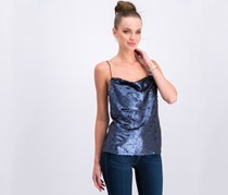 Women's Sequined Strap Top, Navy