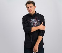 Men's Graphic Casual Shirt, Black