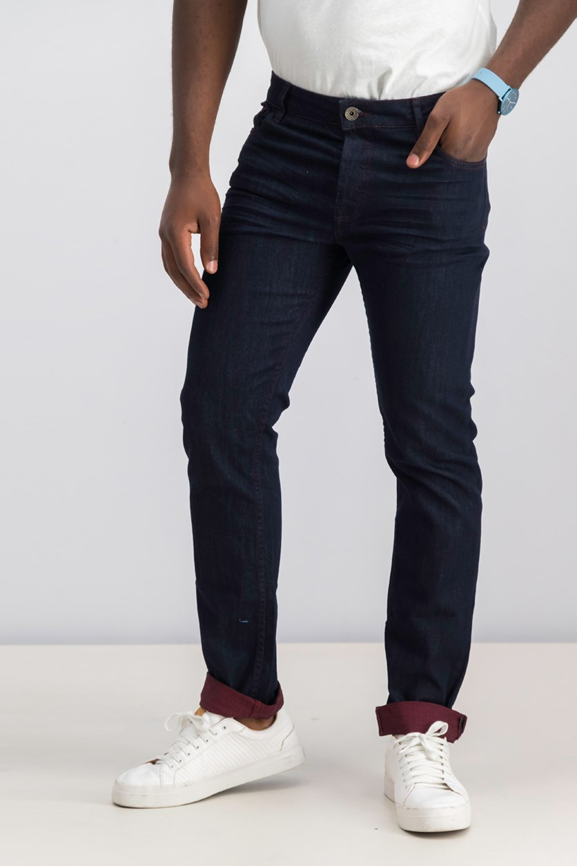 Men's Ruched Jeans, Dark Denim