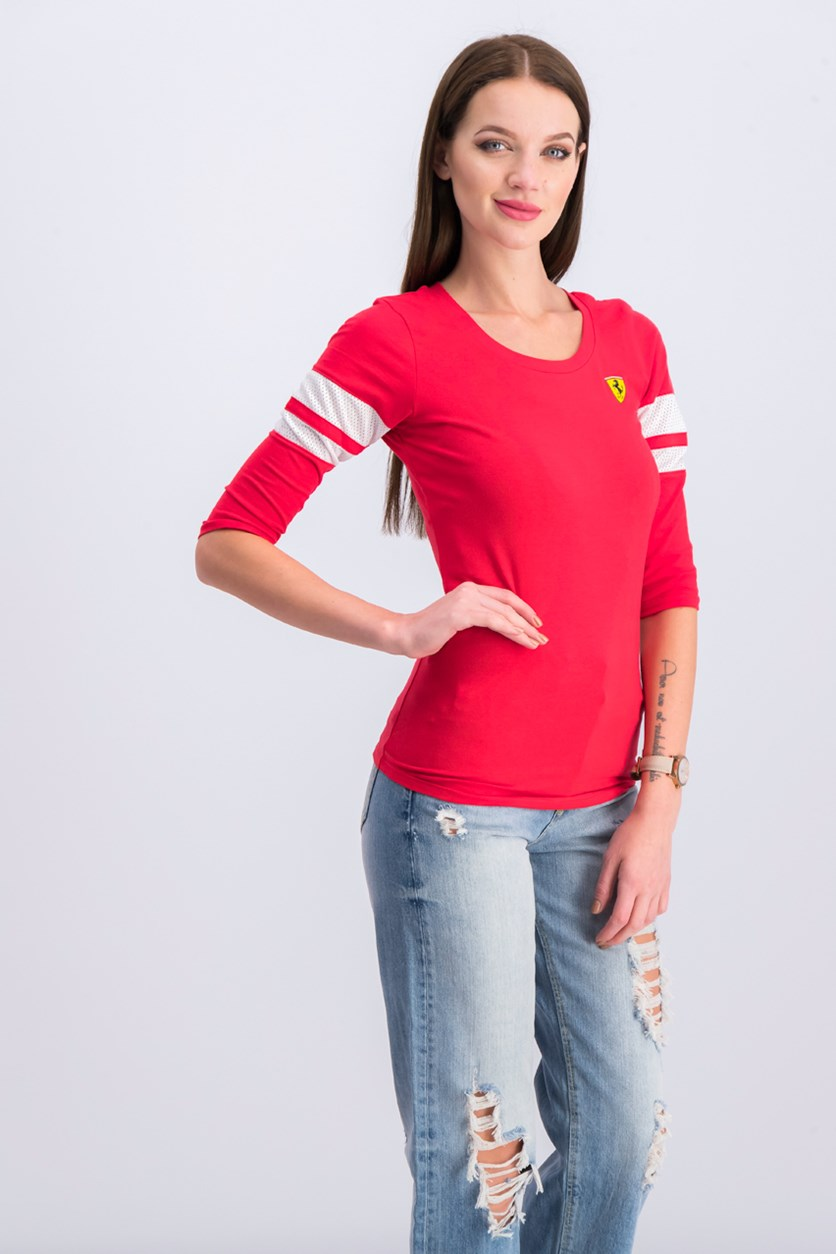 Women's Race 3/4 Sleeve Tee, Red