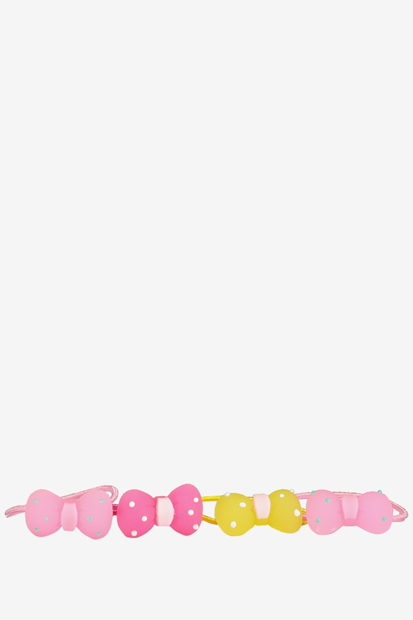 Kids Classic Bow Hair Tie, Pink/Yellow