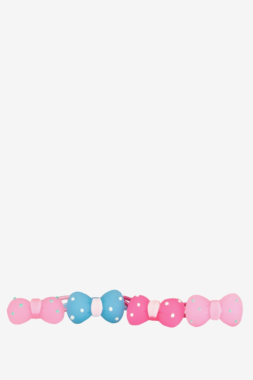 Kids Classic Bow Hair Tie, Pink/Blue