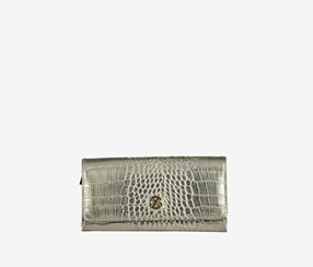 CXL by Christian Rosin Croco Flap Wallet, Soft Gold/Doux