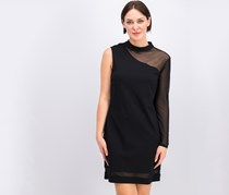 Monteau Trendy Plus Size One-Sleeve Dress, Black