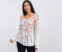 Free People Women Dahlia Printed Top, White Combo