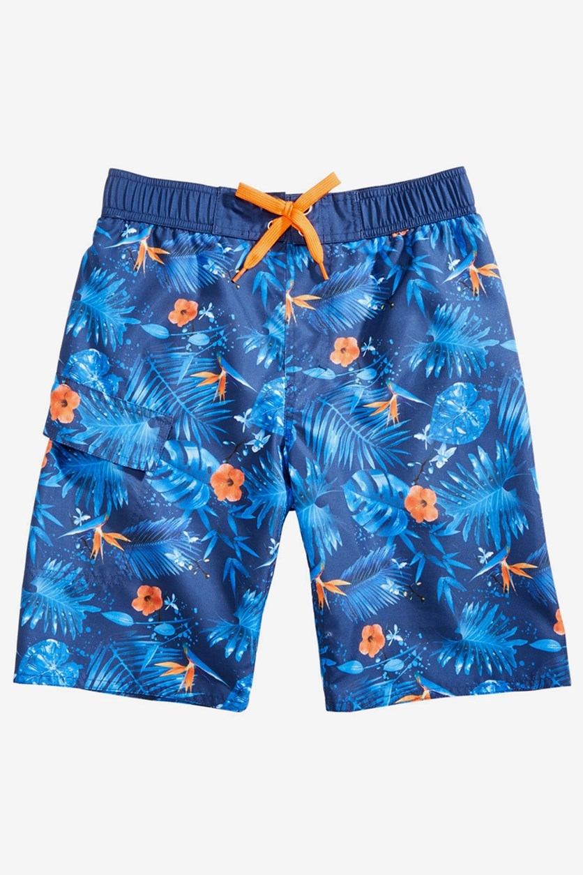Big Boys Printed Swim Trunks Hawaiian, Blue
