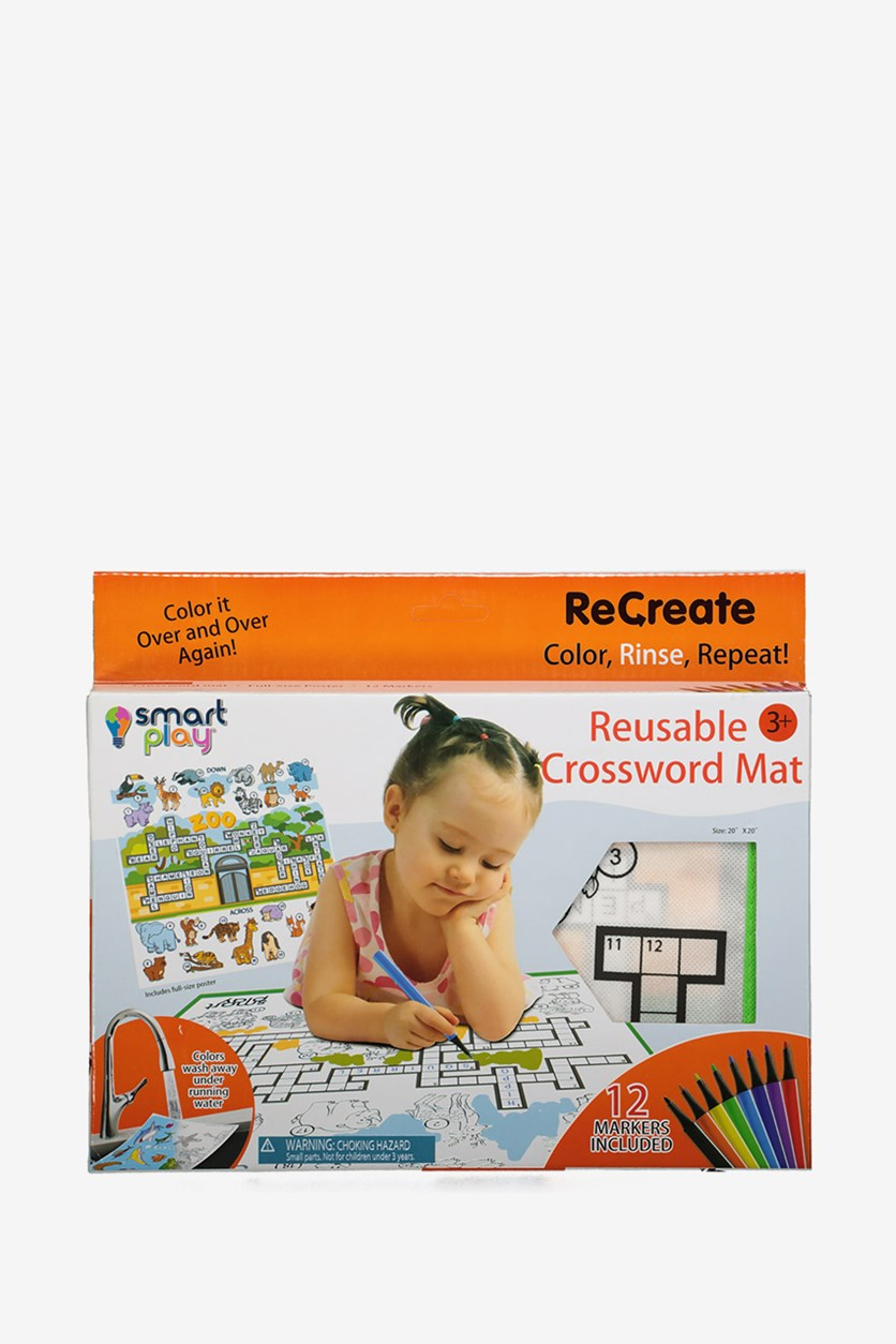 Smart Play Reusable Crossword Mat-At The Zoo Coloring Mat, White
