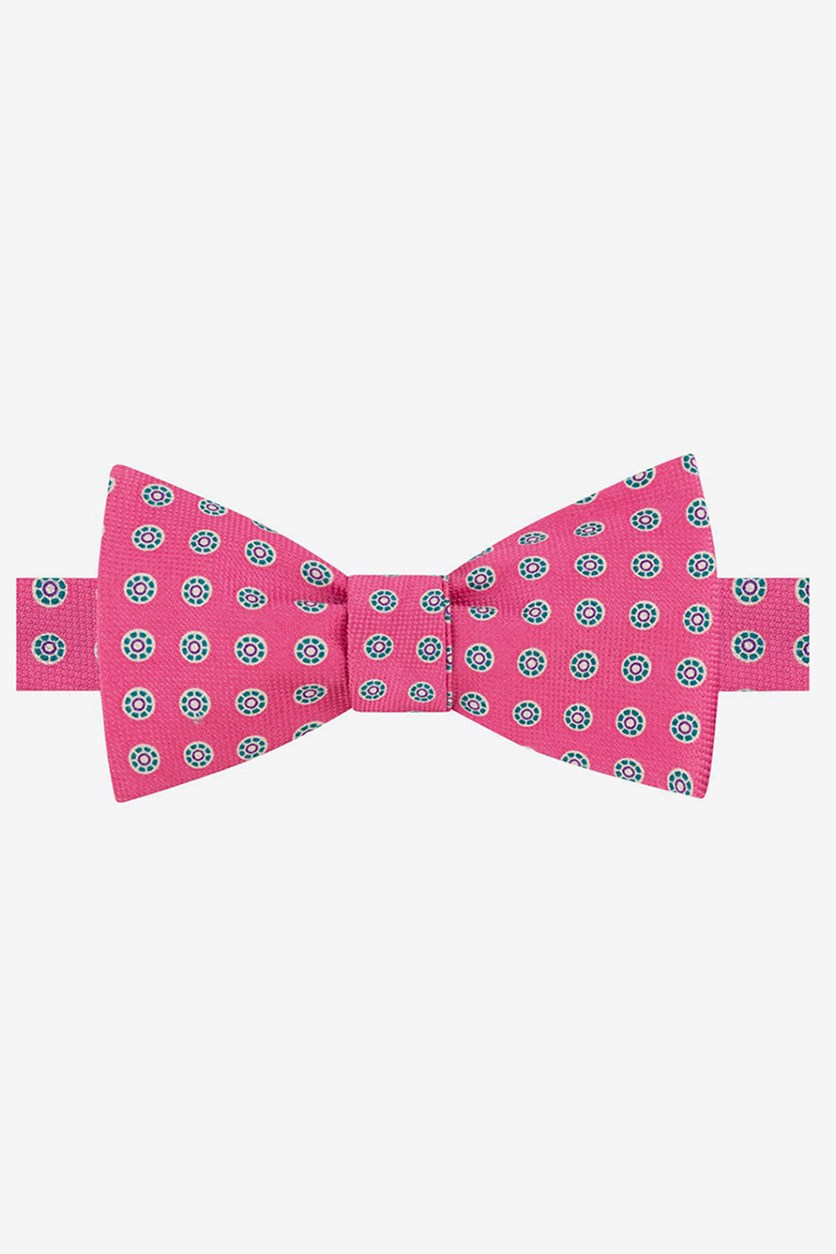 Men's Medallion To-Tie Silk Bow Tie, Dark Pink