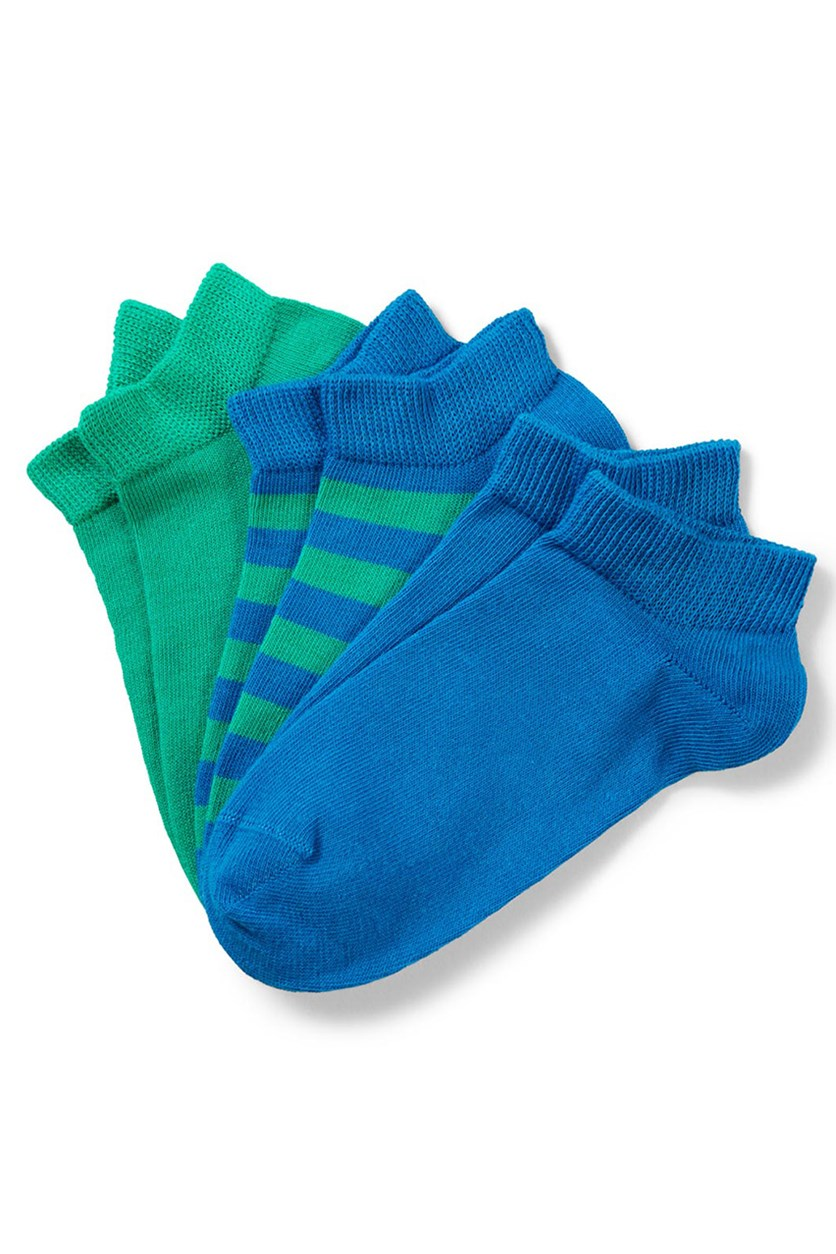 Boys Sneakersocks Set Of 3, Green/Blue