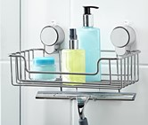 Suction Pad Storage Basket, Silver