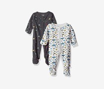 Rosie Pope Toddlers Set of 2 Overall Bodysuit, Grey/White