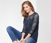 Top With Lace Insert, Blue