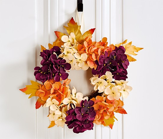 Decorative Wreath, Bordeaux/orange/cream