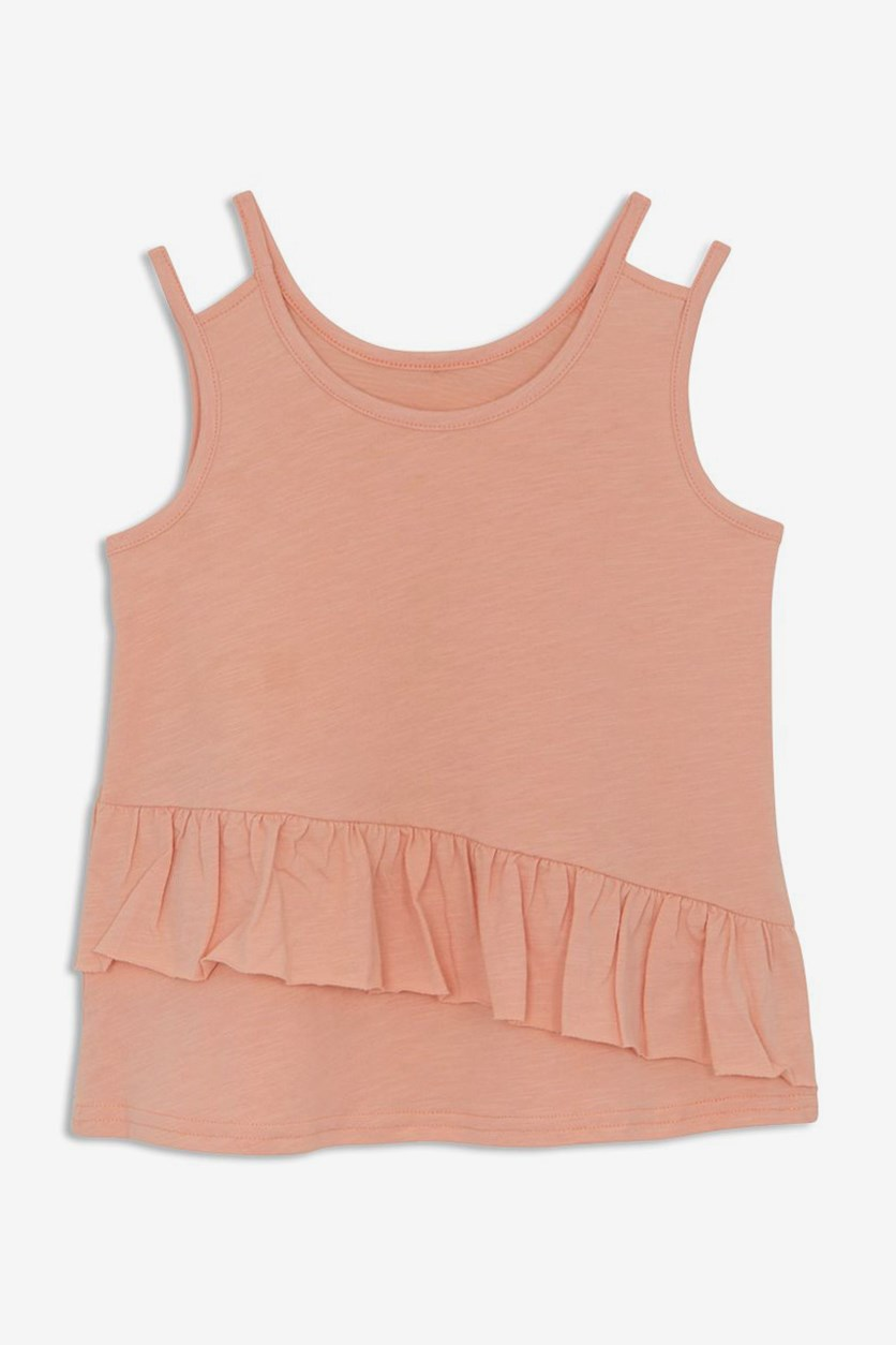 Kids Girl's Sandi Ruffle Top, Light Coral