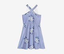Crystal Doll Embroidered Cage-Back Dress, Blue/White
