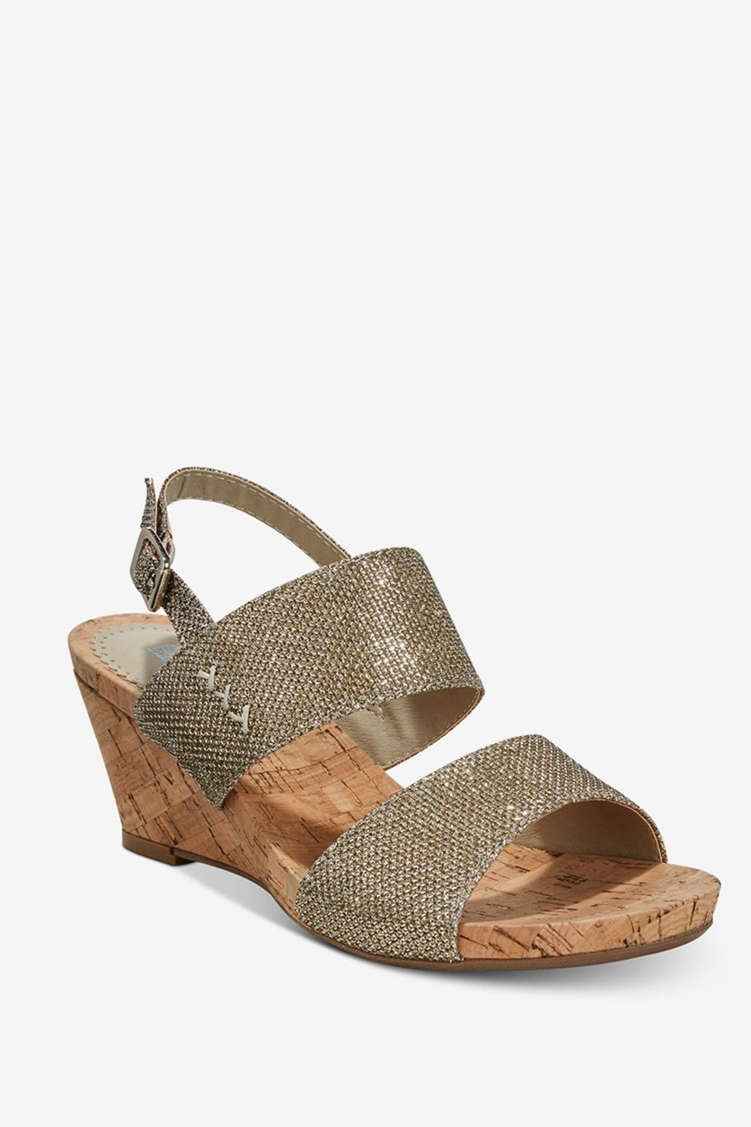 Alexus Slingback Wedge Sandals, Gold Glitter