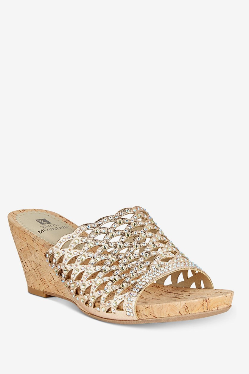 Amal Embellished Wedge Sandals, Rose Gold