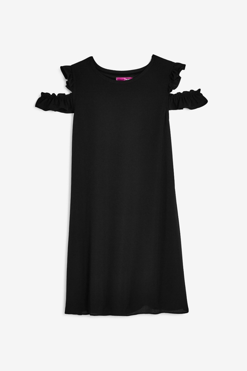 Girls Cold-Shoulder Chiffon Shift Dress, Black