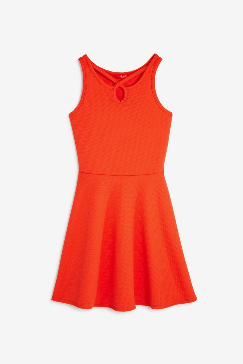 Girls Textured Strappy Fit-and-Flare Dress, Coral