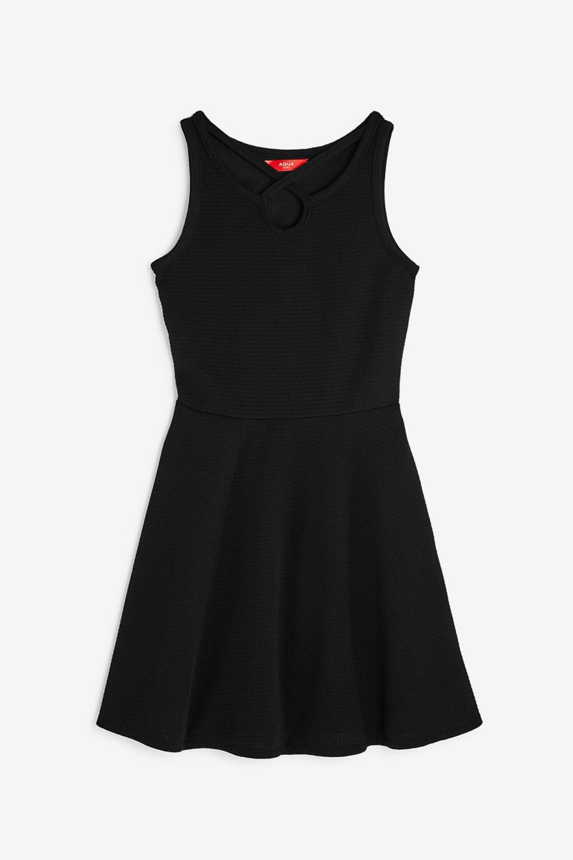 Girls' Textured Strap Fit and Flare Dress, Black