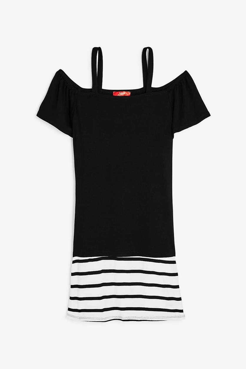 Girls' Contrast Striped Off-the-Shoulder Shirt Dress, Black