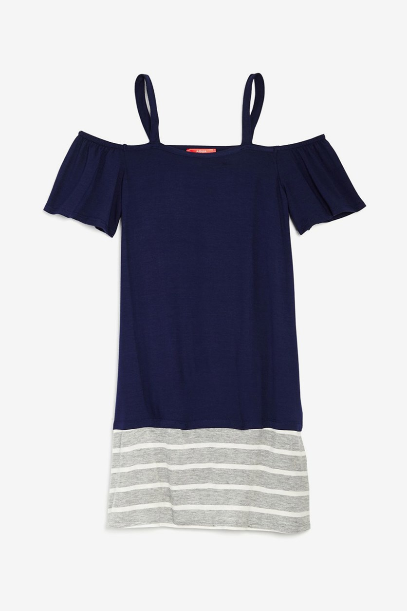 Girls' Contrast Striped Off-the-Shoulder Shirt Dress, Navy