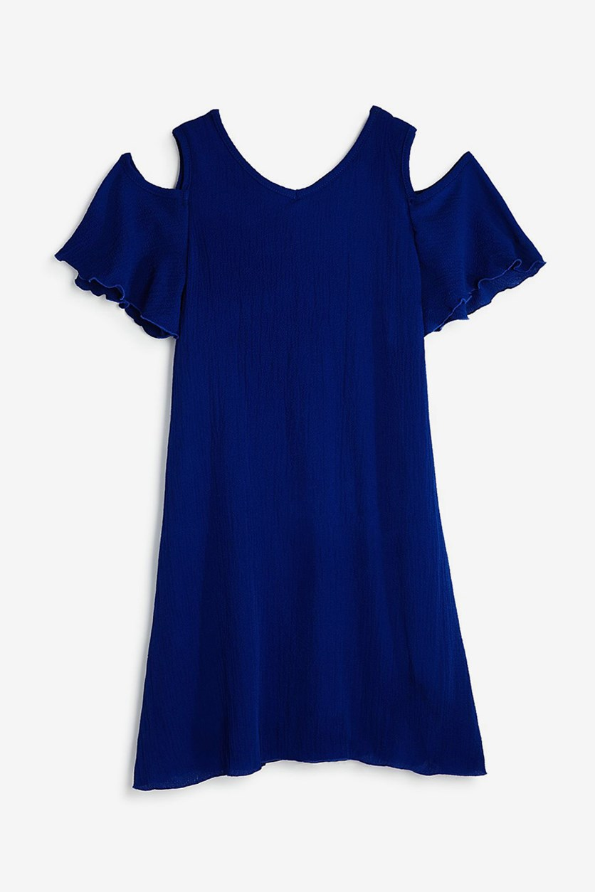 Girls' Cold-Shoulder Crisscross-Back Chiffon Dress, Royal