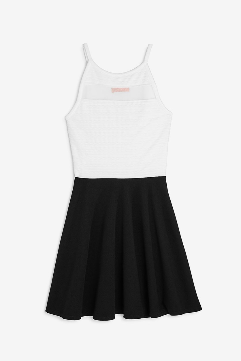 Girls' Mesh-Cutout Color-Block Dress, Ivory/Black