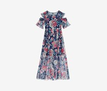 Bonnie Jean Big Girls Floral-Print Cold Shoulder Maxi Dress, Navy