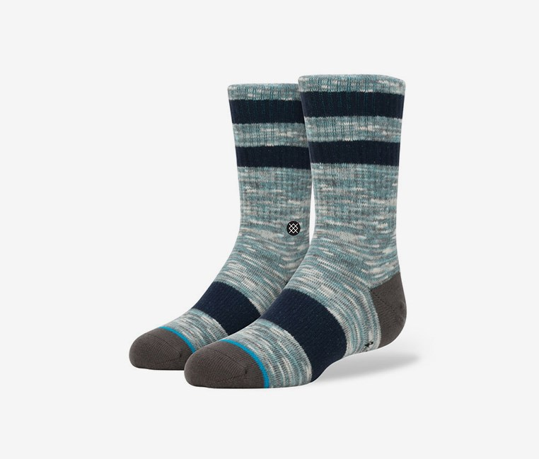 Kids Boys Mission Boys Socks, Gray/Aqua Combo
