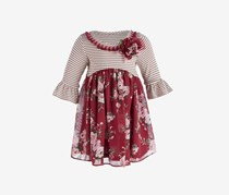 Baby Girls Striped Floral Dress, Burgundy