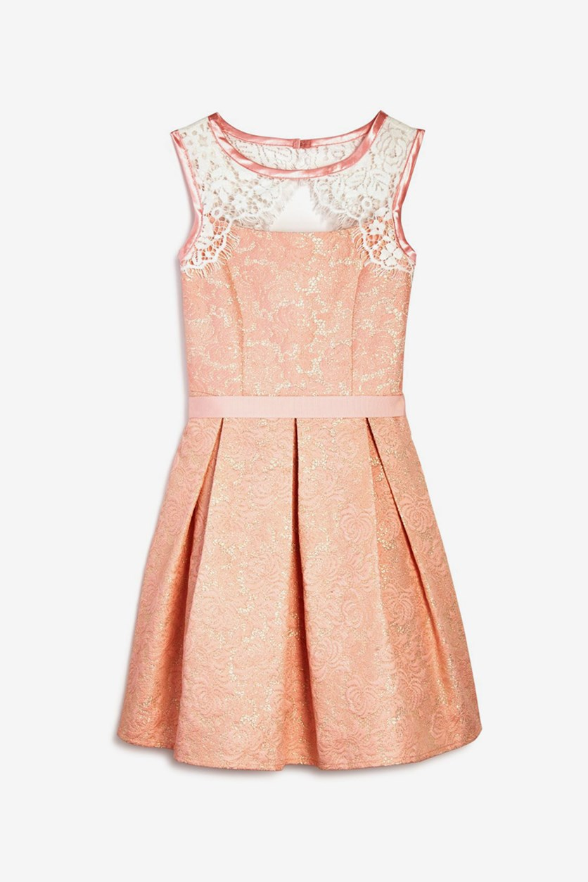 Girls' Metallic Brocade Dress, Blush