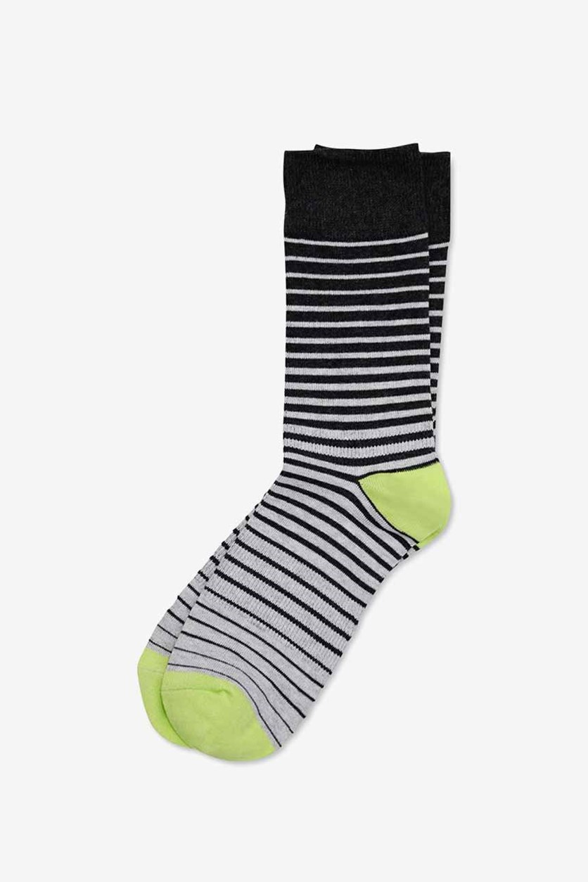 Mens Disco Printed Socks, Grey/Lime Combo