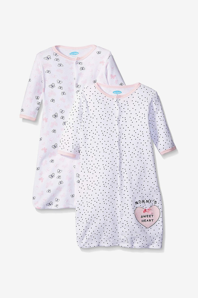 2 pcs Baby Girl's Sleepwear, White Combo