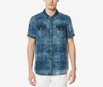 Buffalo Men's Acid Wash Shirt, Wash Blue