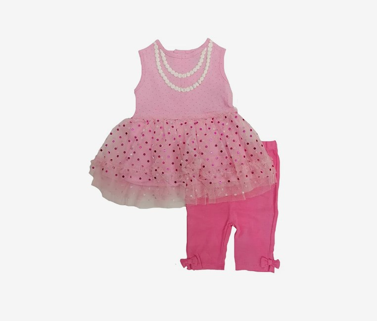 Baby Girl's Tulle Dress & Leggings, Pink