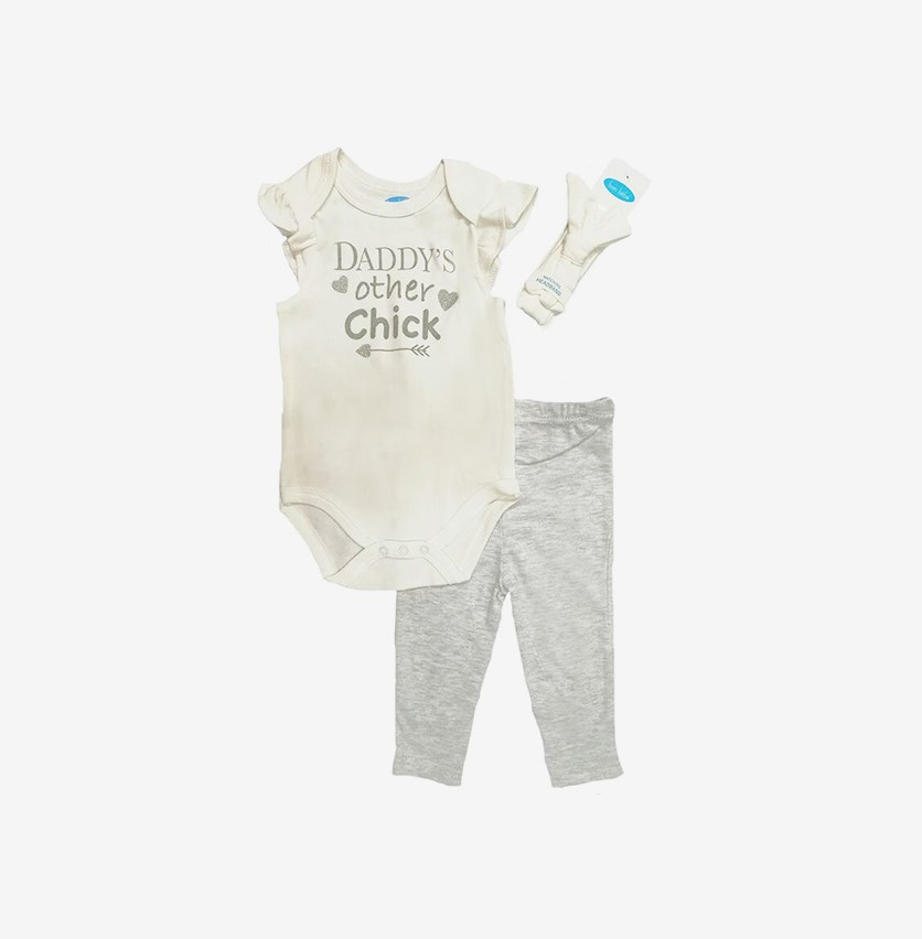 Baby Girl Daddy's Other Chick Bodysuit & Legging Set, White