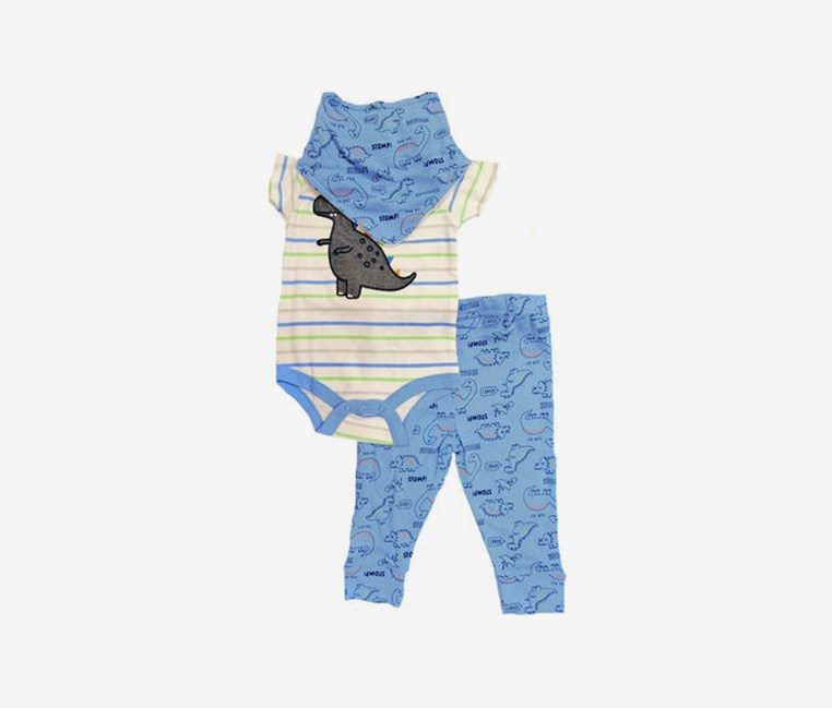 3pc. Dinosaurs Bib Pants & Bodysuit Set, Blue