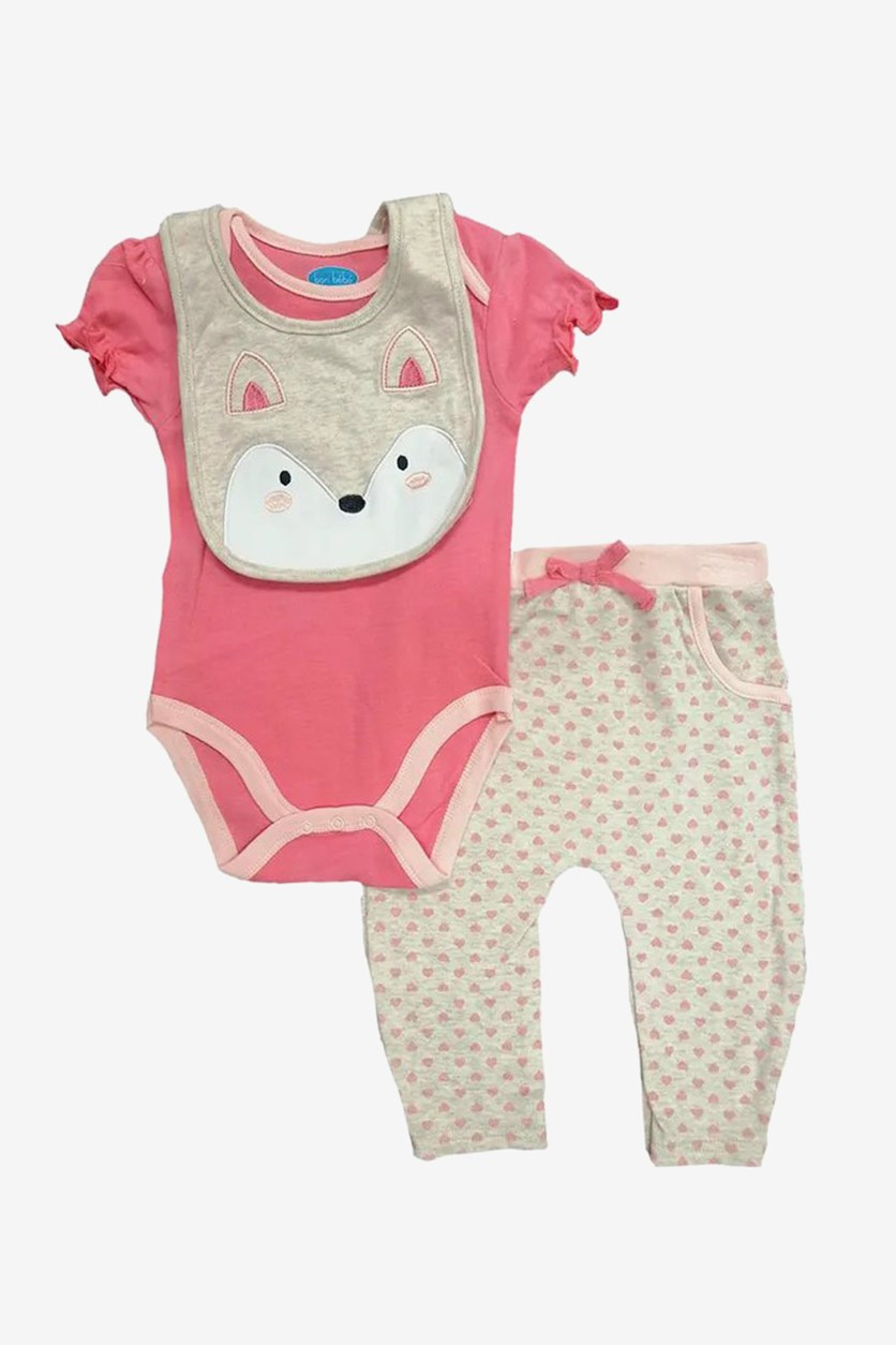 Baby Girl's Bodysuit & Pants Set, Pink/Tan