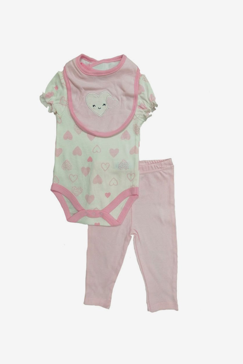 Heart Print Bodysuit & Pants Set, Pink/White