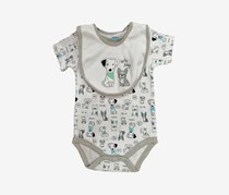 Bon Bebe Toddler Boy's Lets Play Bib & Bodysuit Set, White