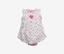 Baby Girl's Heart Print Dress, White