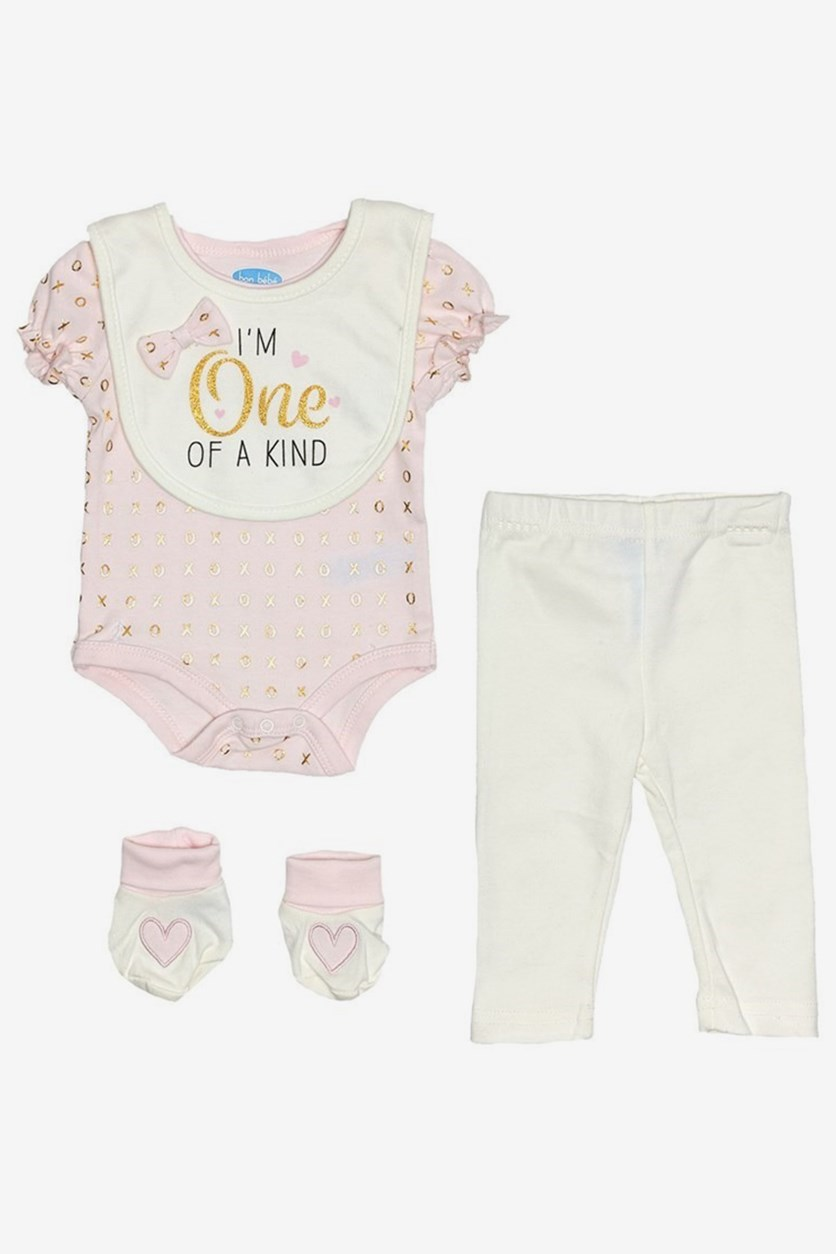 Toddlers Bodysuit, Pants, Bib & Booties Set, Pink/Ivory Combo